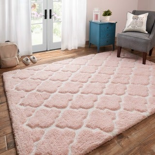 Hand-tufted Riley Blush/ Ivory Trellis Dots Shag Rug (3'0 x 5'0)
