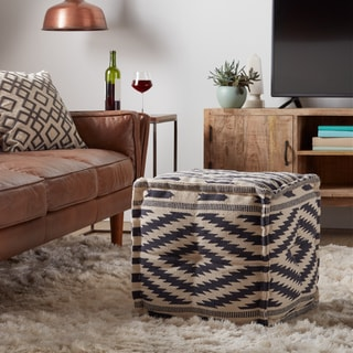 Kilim Diamond Square Pouf (India)
