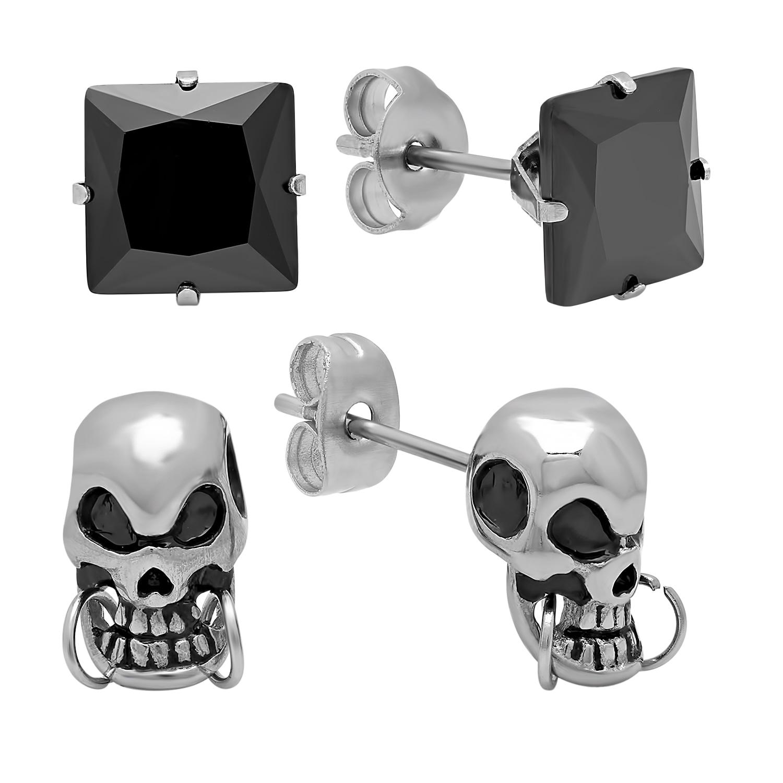 Black Square Stud and Skull Earrings (Set of 2) (Metallic...