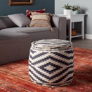 Kilim Diamond Round Pouf (India)