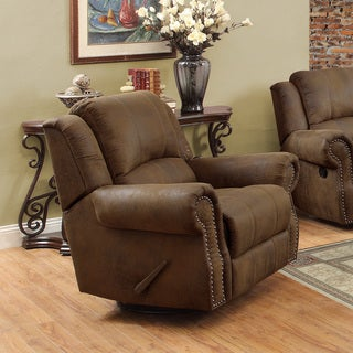 Brown Swivel Microfiber Rocker Swivel Recliner