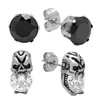 Black Stud and Skull Earring Set