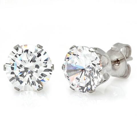 Piatella Ladies Stainless Steel Cubic Zirconia Stud Earrings