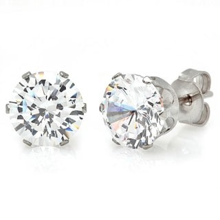 Silvertone Cubic Zirconia Stud Earrings