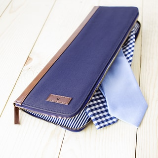 Personalized Men's Navy Canvas Travel Tie Case