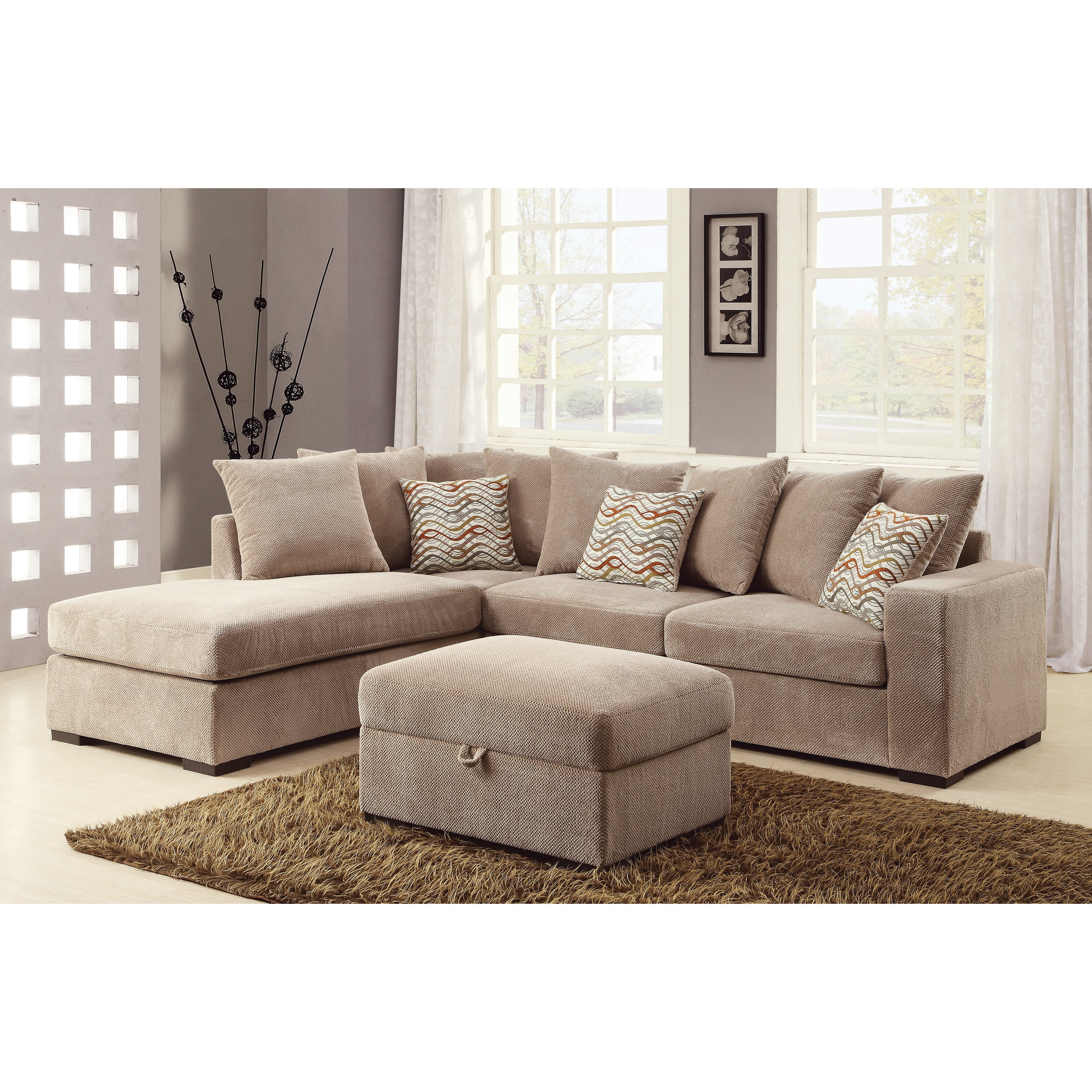 Outstanding Copper Grove Claiborne Taupe Chenille Cushioned Sectional 102 X 82 X 35 50 Pdpeps Interior Chair Design Pdpepsorg