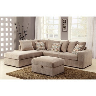 T Clay Alder Home Claiborne Taupe Chenille Cushioned Sectional