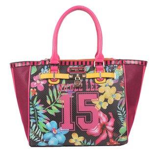 Nicole Lee Black '15' Floral Print Tote Bag