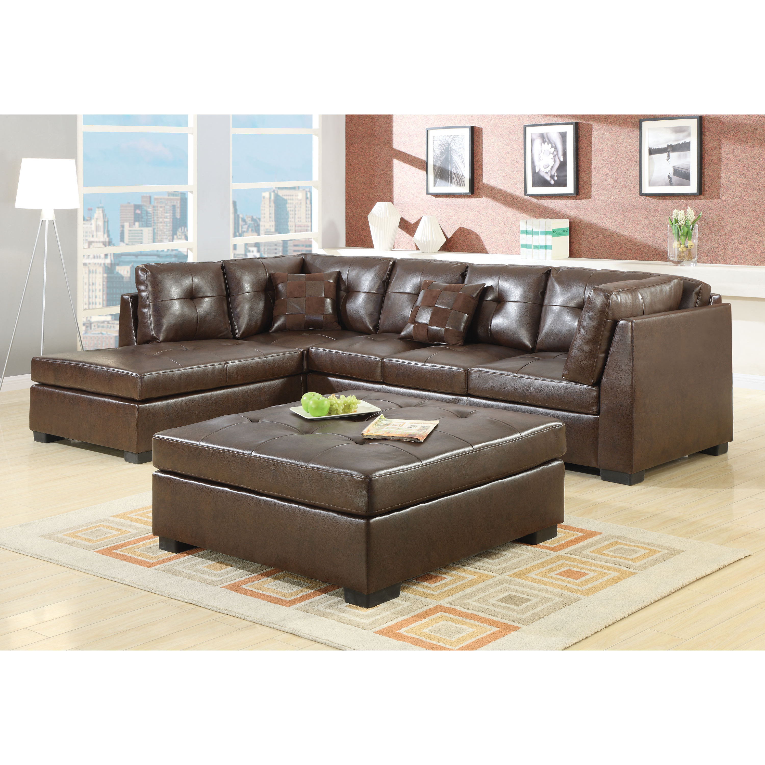 Astounding Coaster Company Brown Leather Sectional 109 X 75 50 X 35 50 Machost Co Dining Chair Design Ideas Machostcouk