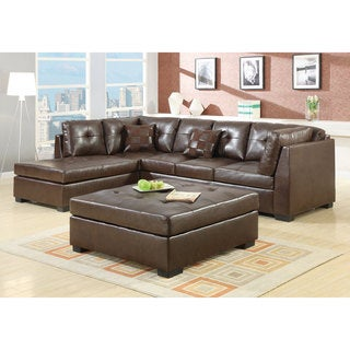 Great Coaster Company Brown Leather Sectional