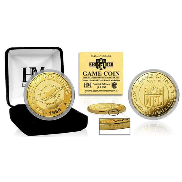 """Miami Dolphins 2016 Gold Game """"Flip"""" Coin"""