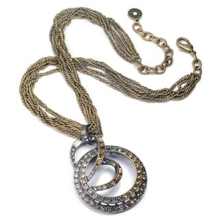 Sweet Romance Antiqued Bronze Brass Art Deco Spiral Necklace