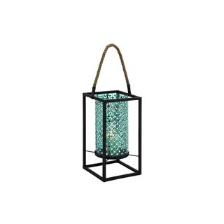 Metal and Turquoise Glass Mosaic Lantern Candle Holder
