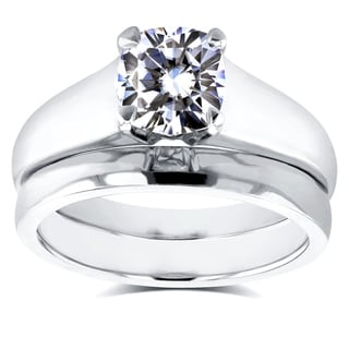 Annello by Kobelli 14k White Gold 1 1/10ct Cushion Moissanite Classic Solitaire Bridal Set