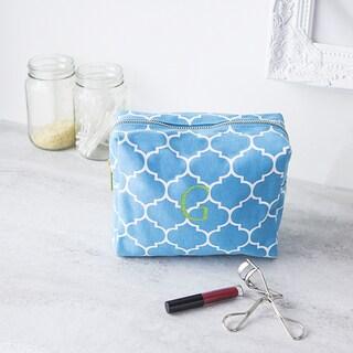 Personalized Blue Moroccan Lattice Cosmetic Bag