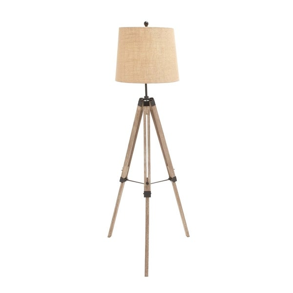 Industrial 63 Inch Iron and Pine Wood Tripod Floor Lamp by Studio 350