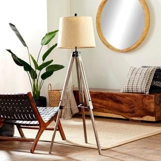 Beige/Silver Wood/Metal 63-inches High Tripod Floor Lamp