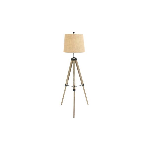 Beige/Silver Wood/Metal 63-inches High Tripod Floor Lamp