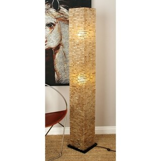 Tan/Black/Off-white Fiberglass Floor Lamp