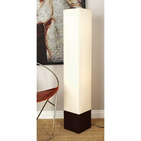 Modern 47 Inch Ivory Wooden Tower Uplight Floor Lamp by Studio 350