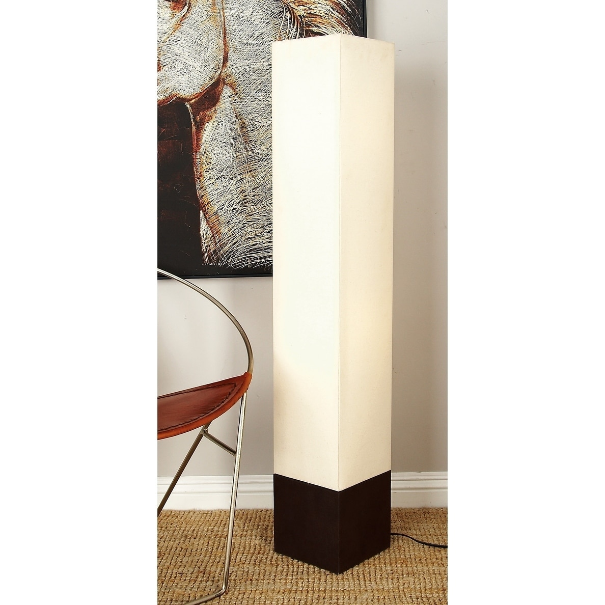 Ivory Wooden Tower Uplight Floor Lamp