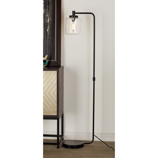 "61"" Industrial Metal Arc Floor Lamp with Glass Lamp Shade by Studio 350"