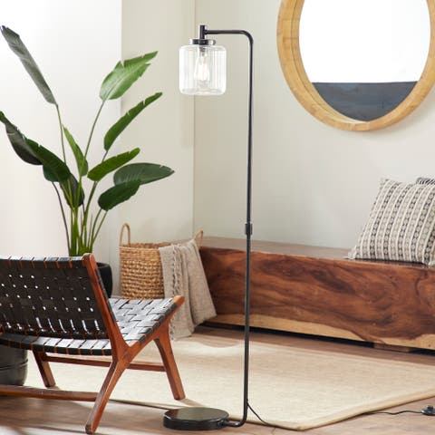 61 Industrial Metal Arc Floor Lamp with Glass Lamp Shade by Studio 350