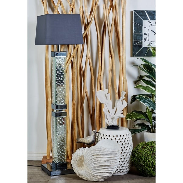 Modern 65 x 12 Inch Wood and Mirror Bubble Floor Lamp by Studio 350