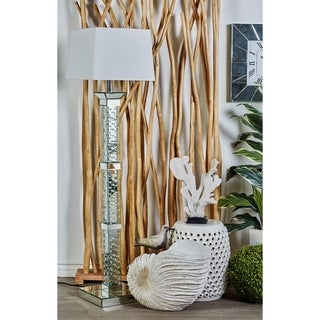 Glass/Wood 65-inch Mirrored Crystal Floor Lamp
