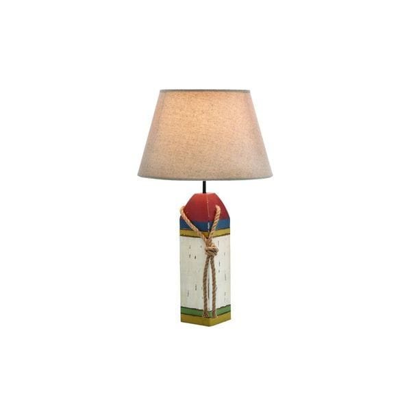 Buoy Painted Wood and Metal Table Lamp