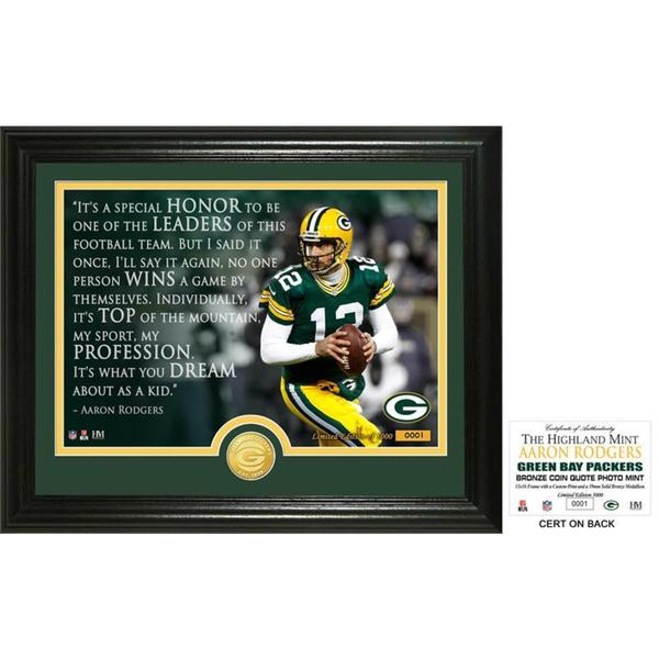 """Aaron Rodgers """"Quote"""" Bronze Coin Photo Mint"""
