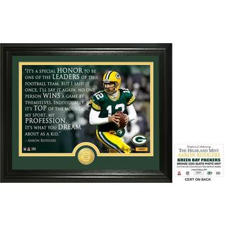 "Aaron Rodgers ""Quote"" Bronze Coin Photo Mint"