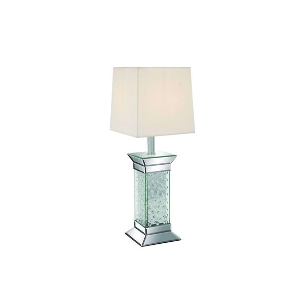 Silver Wood/Glass 28-inch High Table Lamp