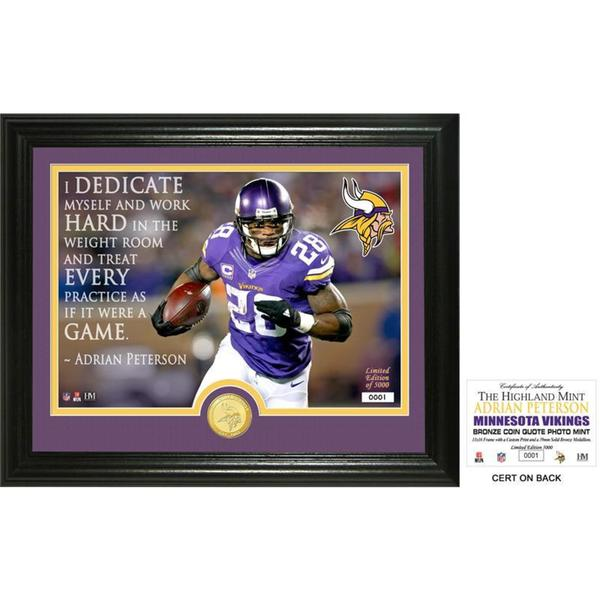 "Adrian Peterson ""Quote"" Bronze Coin Photo Mint"