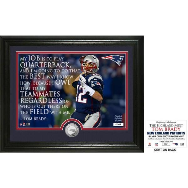 """Tom Brady """"Quote"""" Silver Coin Photo Mint"""