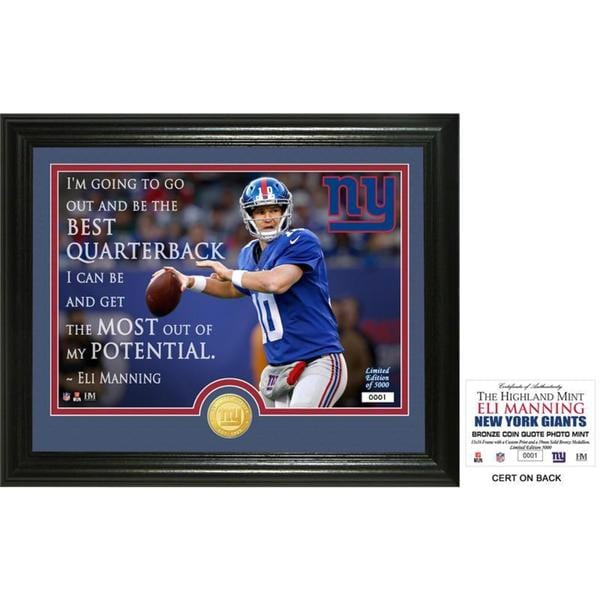 "Eli Manning ""Quote"" Bronze Coin Photo Mint"