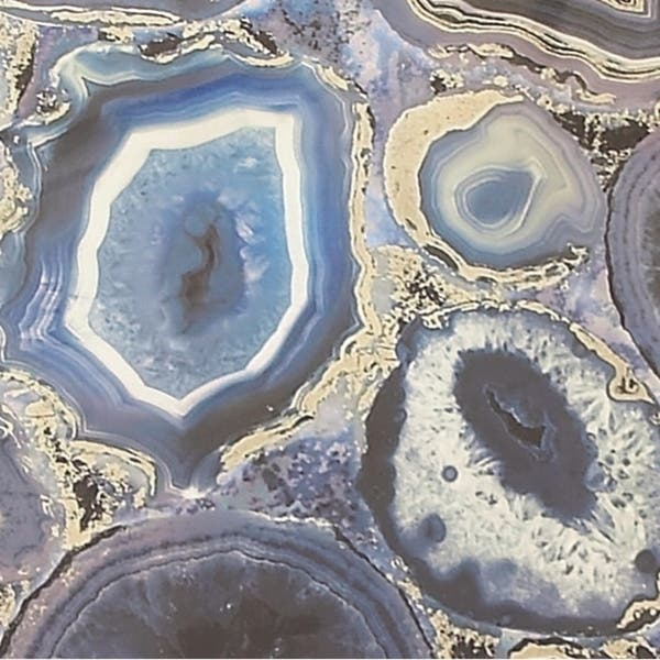 Shop Large Rectangular Blue Agate Geode Abstract Wall Art In
