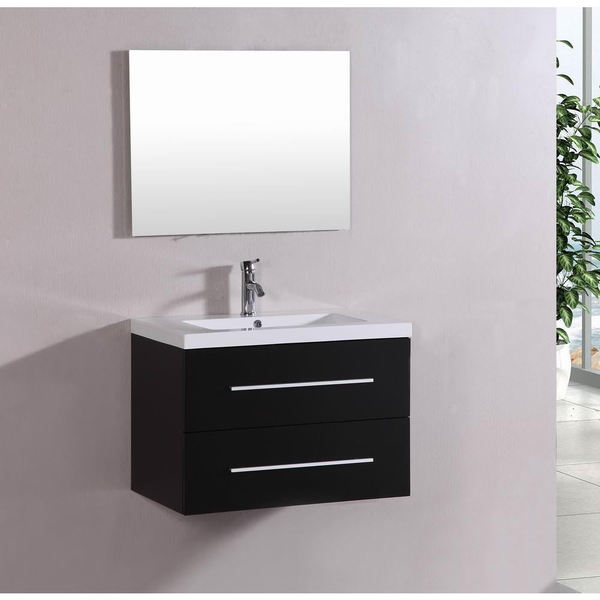 Belvedere Bath Modern Espresso Wall Mount Bathroom Vanity