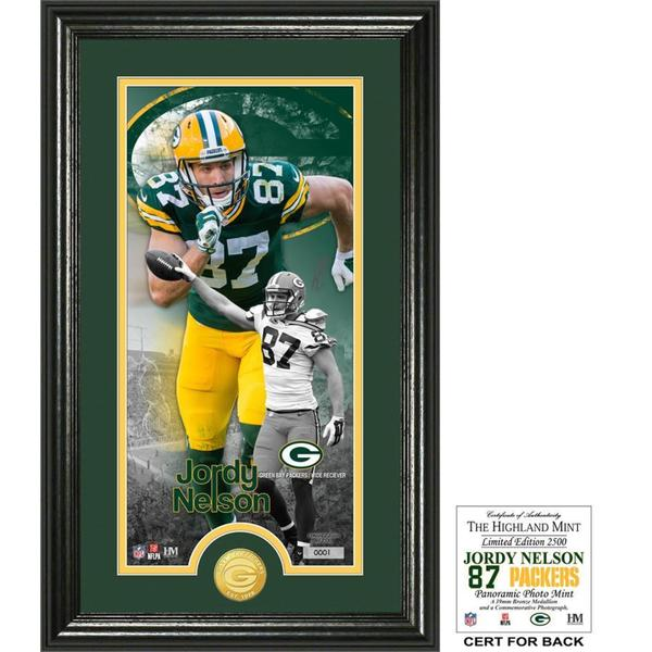 """Jordy Nelson """"Supreme"""" Bronze Coin Panoramic Photo Mint"""