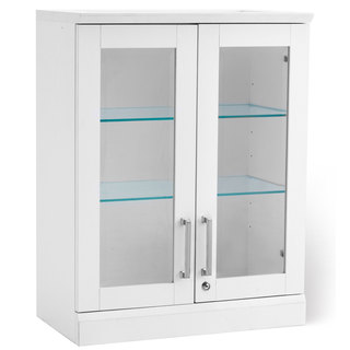 NewAge Products White Wood and Glass Shaker-style Short-wall Display Cabinet