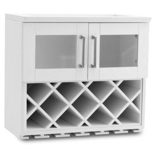 NewAge Products Home Bar 24-inch Wide x 13.5-inch Deep White Shaker Style Wall Wine Rack