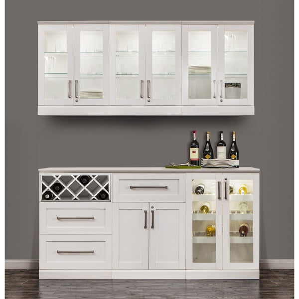 NewAge Products White Shaker Style 7 Piece Home Bar Storage Cabinet