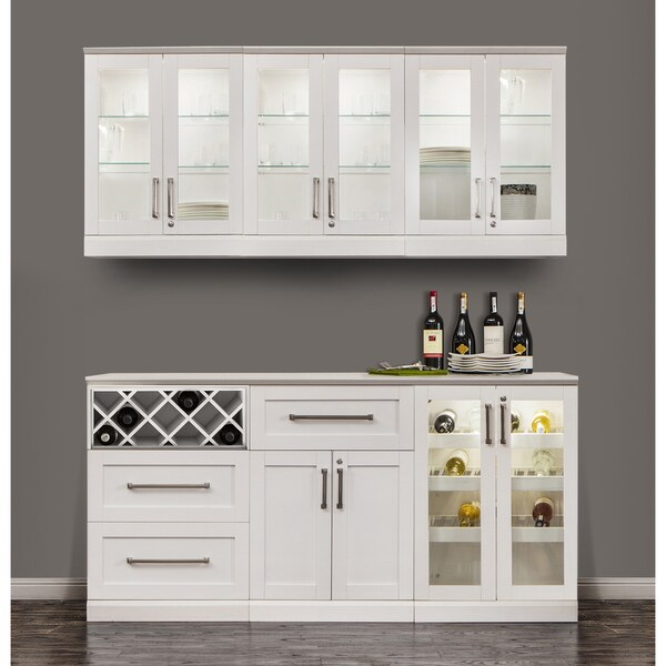 White home bar furniture Fancy Home Newage Products White Shakerstyle 7piece Home Bar Storage Cabinet Senja Cabinet Shop Newage Products White Shakerstyle 7piece Home Bar Storage