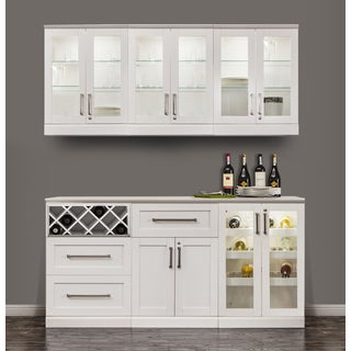 NewAge Products Home Bar 72-inch x 17-inch 7-piece White Shaker Style