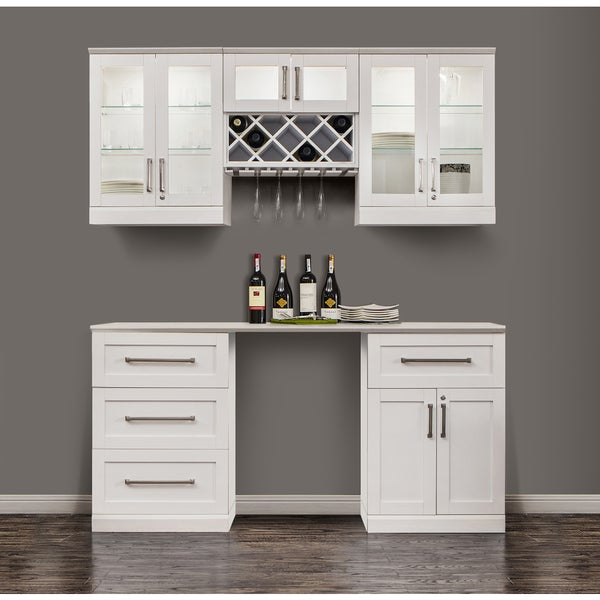 Newage Products Shaker Style White 6 Piece Home Bar Cabinet System Free Shipping Today