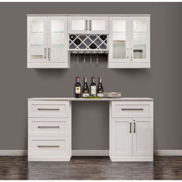 Ordinaire NewAge Products Shaker Style White 6 Piece Home Bar Cabinet System