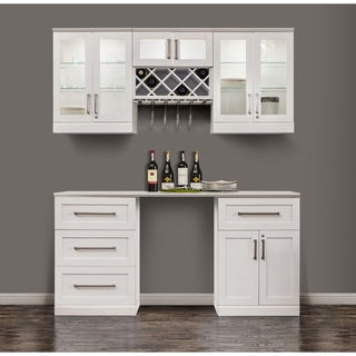 NewAge Products Shaker-style White 6-piece Home Bar Cabinet System