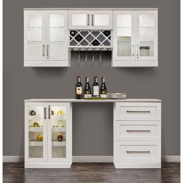 white home bar furniture. NewAge Home Bar 72-inch White 6-Piece Shaker Style Cabinet Set Furniture