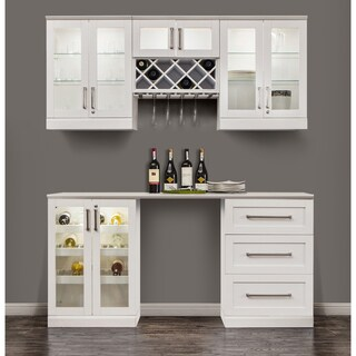 NewAge Home Bar 72-inch White 6-Piece Shaker Style Cabinet Set