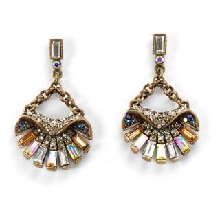 Sweet Romance Art Deco Aurora Bronze-finish Brass and Crystal Scallop Shell Ocean Earrings